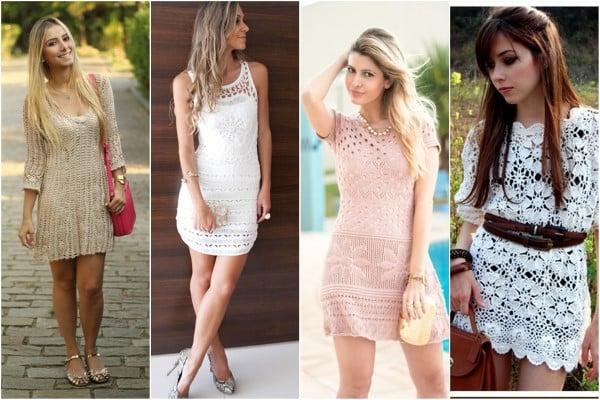 vestidos curtos de croche da moda