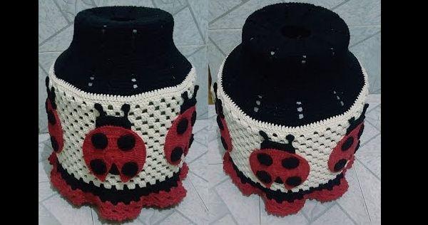 capa de bojão de crochê joaninha