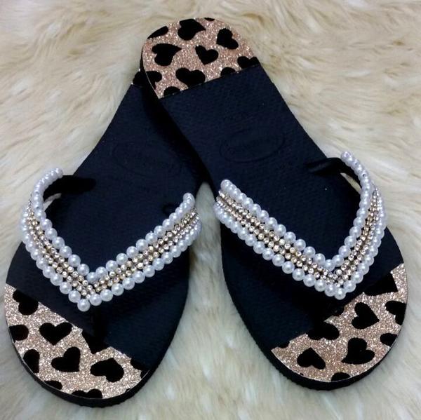 chinelos decorados com tecido