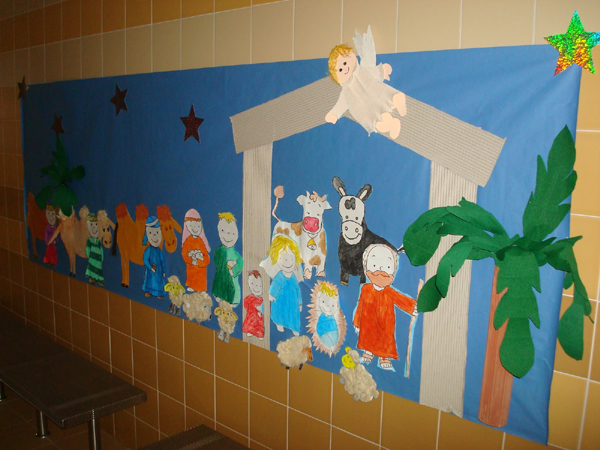 painel escolar de Natal na parede