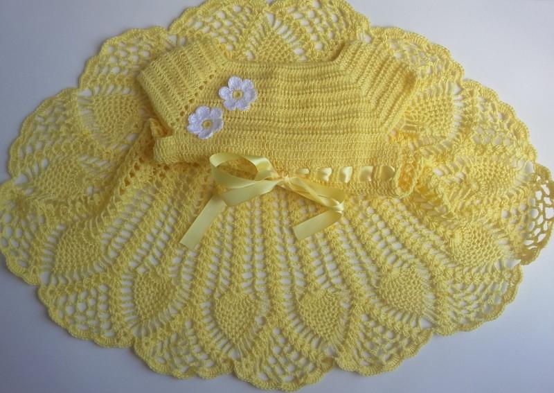 vestido de crochê infantil amarelo