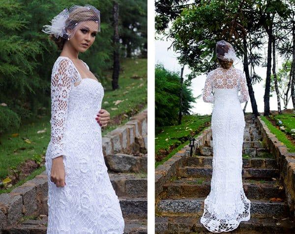 vestido de noiva lindo em croche