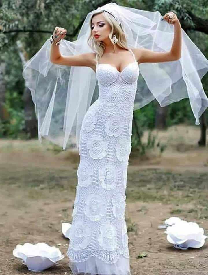vestido de croche longo branco