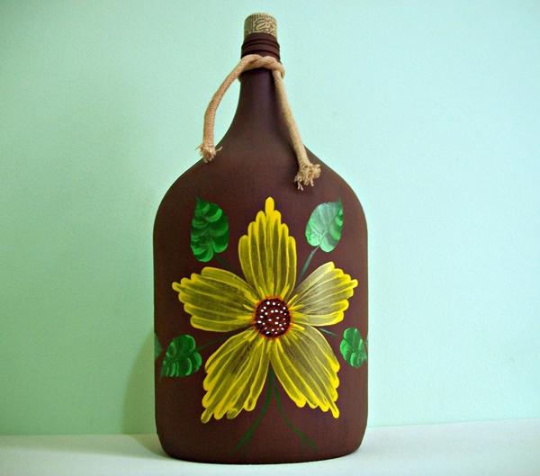 garrafas pintadas com flor