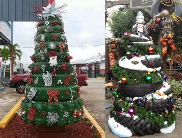 reciclagem com pneus arvore de natal