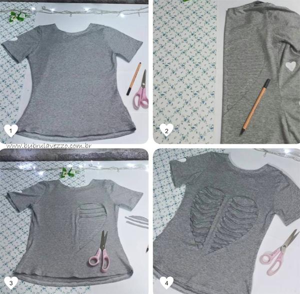 customização de camisetas coração