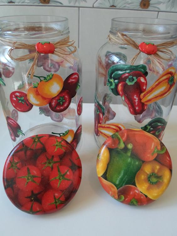 decoupage no vidro frutas