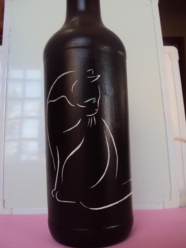 garrafas pintadas com gato