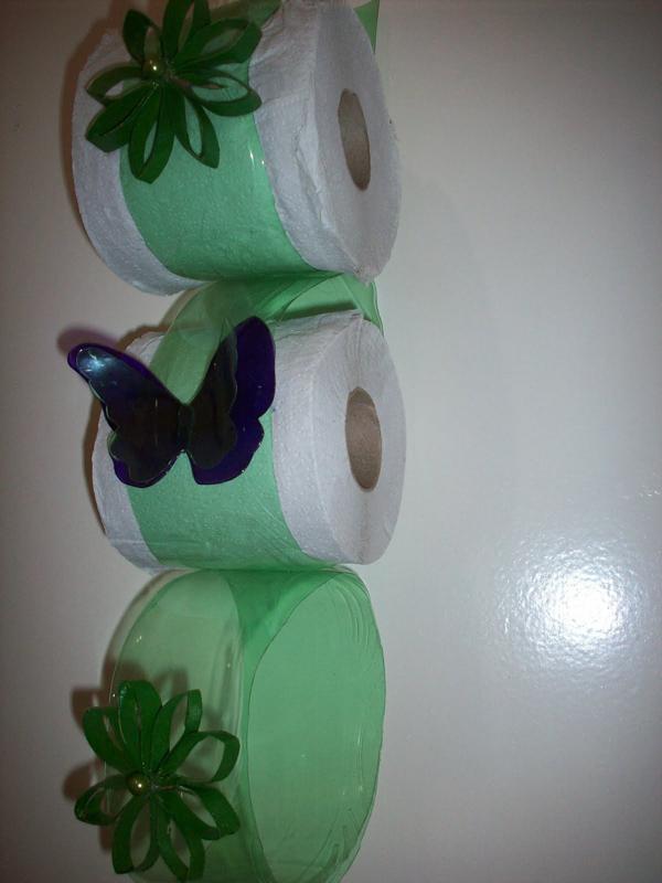 porta papel higiênico de garrafa pet borboleta