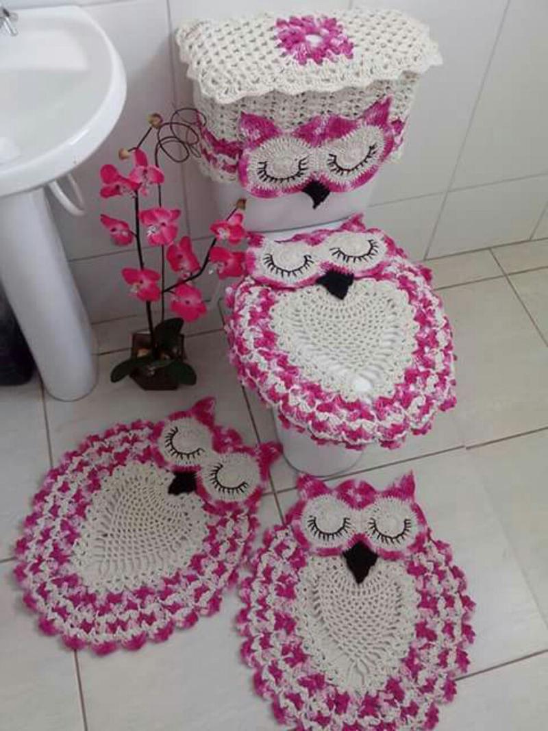 Kit Para Banheiro Artesanato ~ Jogo de Banheiro de Coruja em Croch u00ea Passo a Passo Artesanato Passo a Passo!