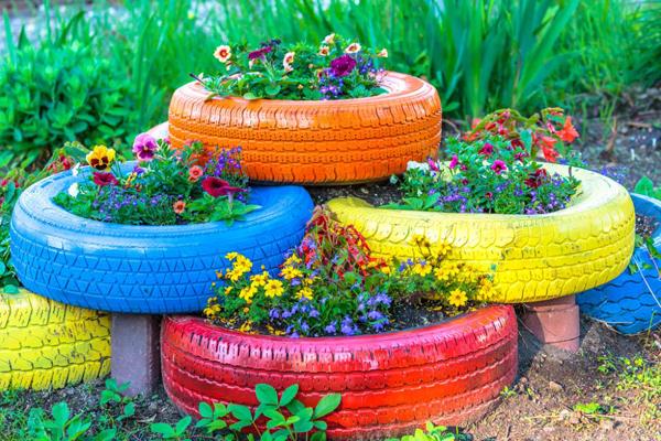 pneus pintados para jardim tutorial