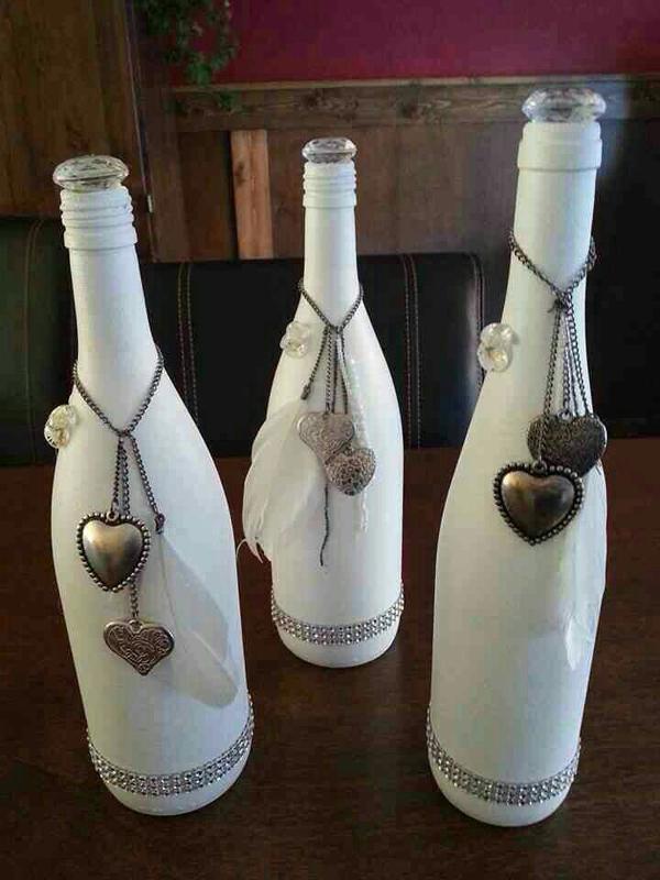 garrafas pintadas com pingente