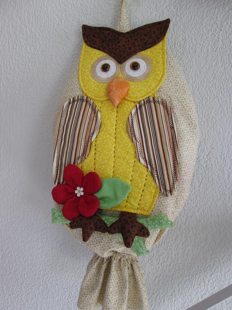 puxa saco de coruja amarelo