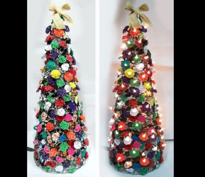 árvore natalina de fuxico
