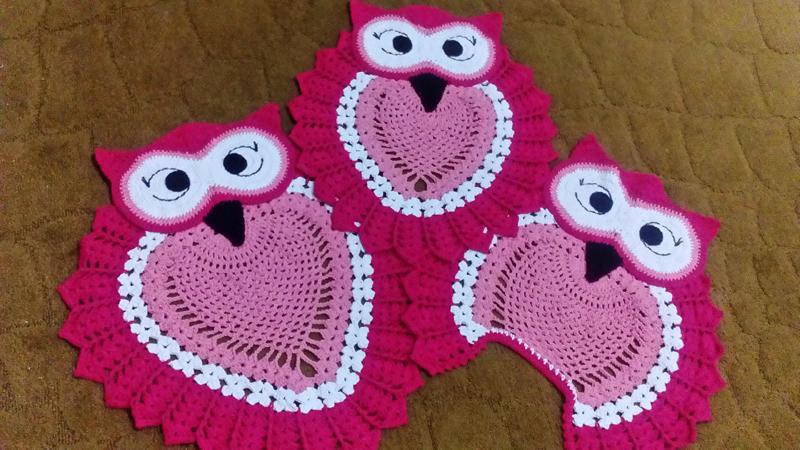 jogo de coruja de crochê pink