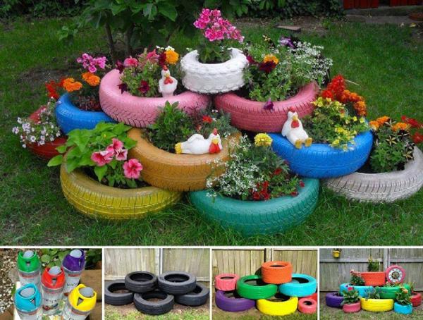pneus pintados para jardim comuns