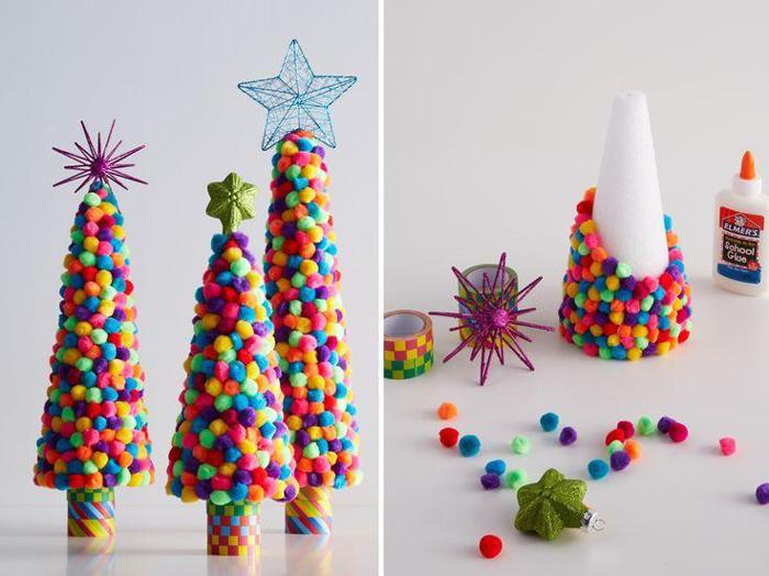 árvore natalina de pompom