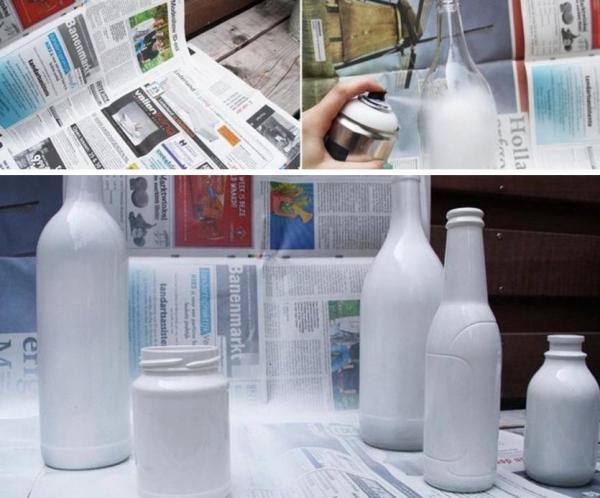 garrafas pintadas brancas