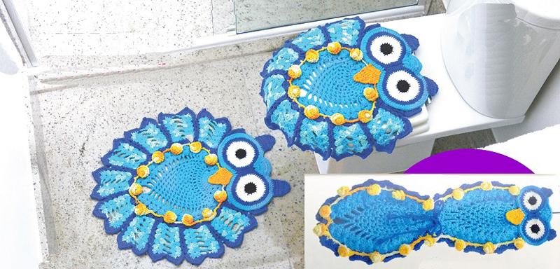 jogo de coruja de crochê azul