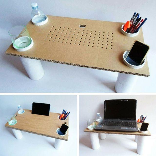 mesa com papelão notebook