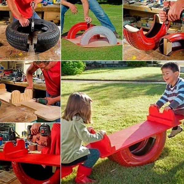 reciclagem com pneus gangorra