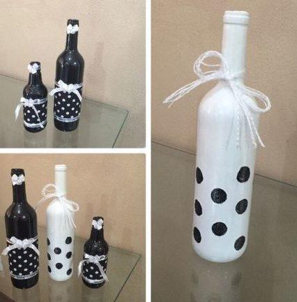 garrafas pintadas preta e branca