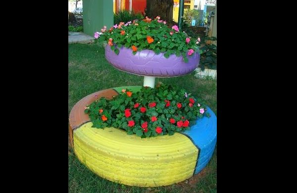 tutorial pneus pintados para jardim