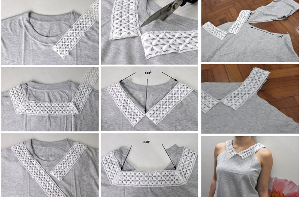 customização de camisetas com renda
