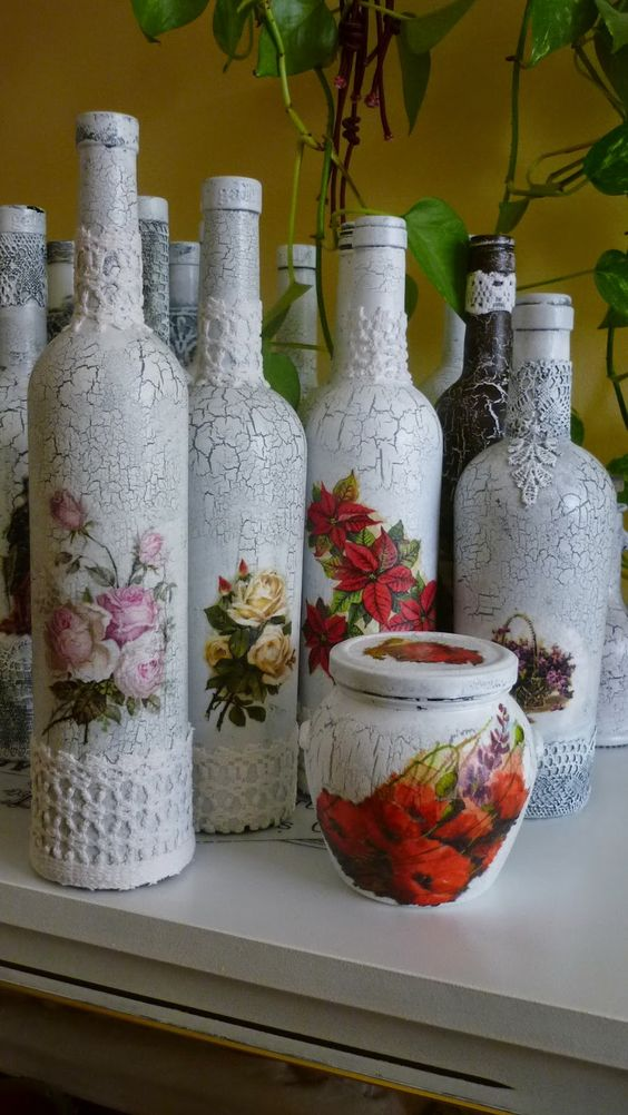 decoupage no vidro renda
