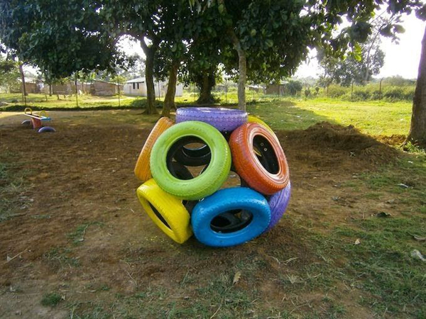 reciclagem com pneus jardim