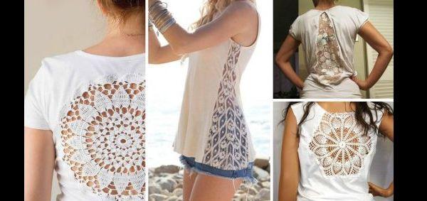 customização de camisetas com croche