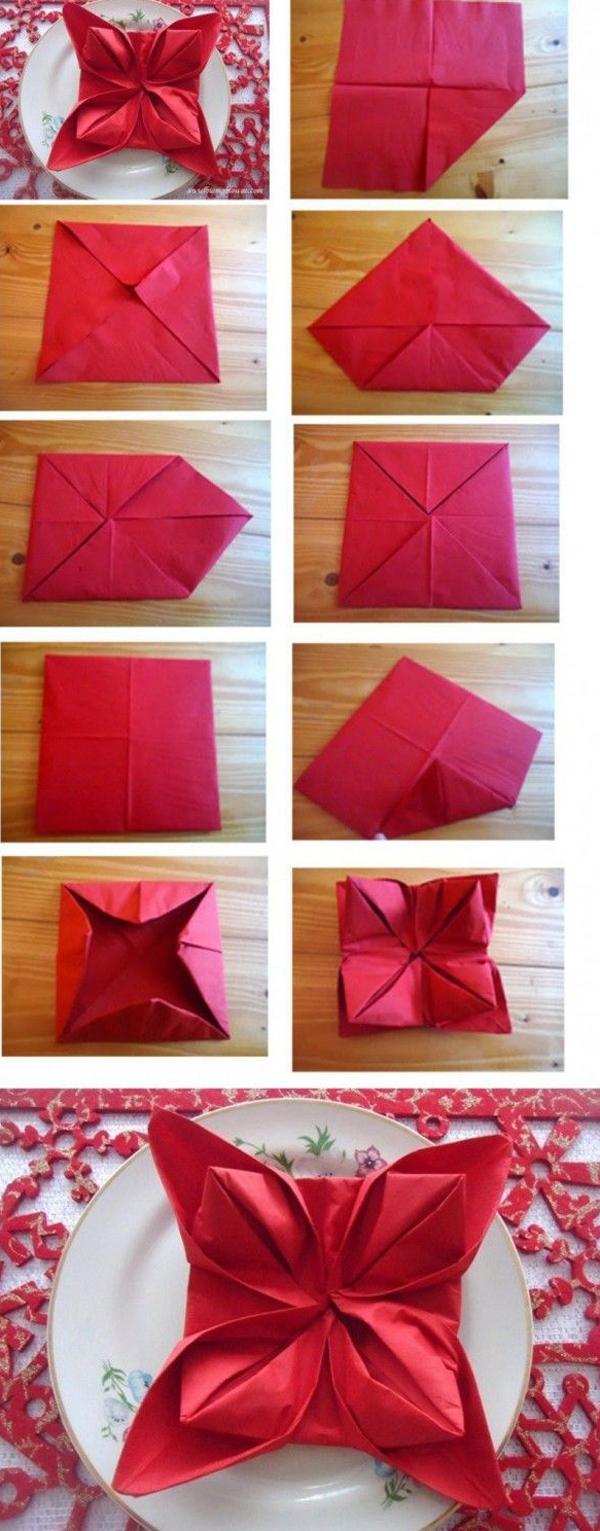 dobradura de guardanapo de papel flor