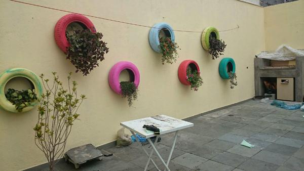 como fazer pneus pintados para jardim