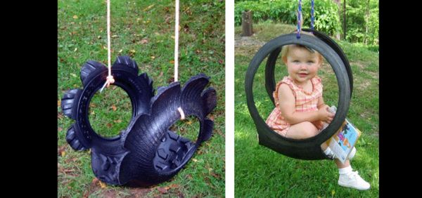 reciclagem com pneus balanço