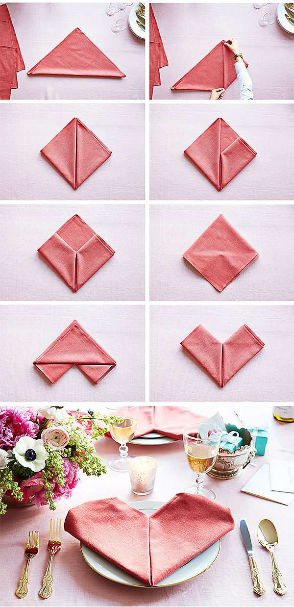 dobradura de guardanapo de papel coração