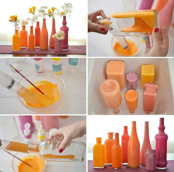 garrafas pintadas coloridas