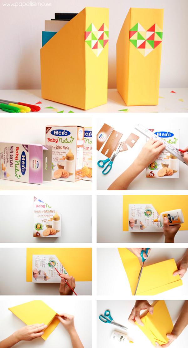 organizador de revistas de caixa de cereal