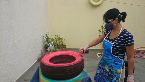 pneus pintados para jardim passo a passo