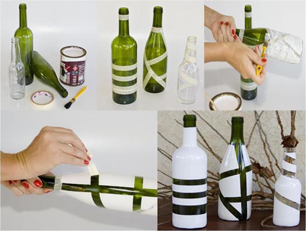 garrafas pintadas com fita