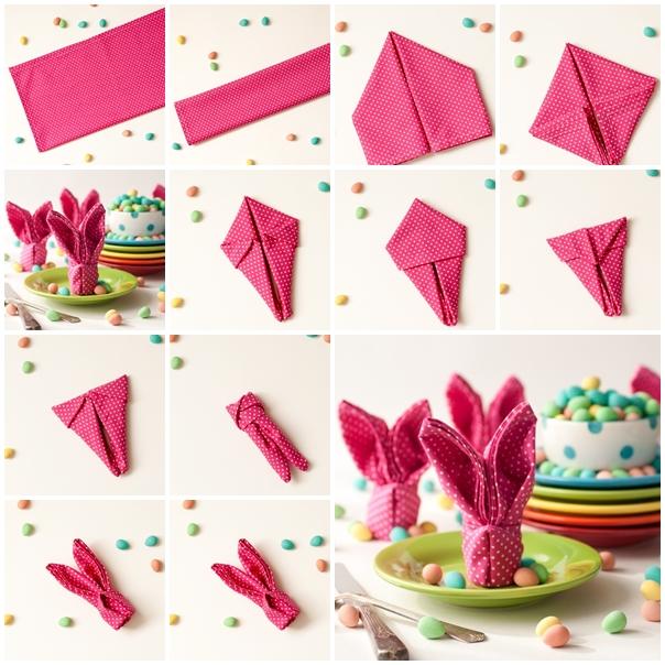 dobradura de guardanapo de papel coelho