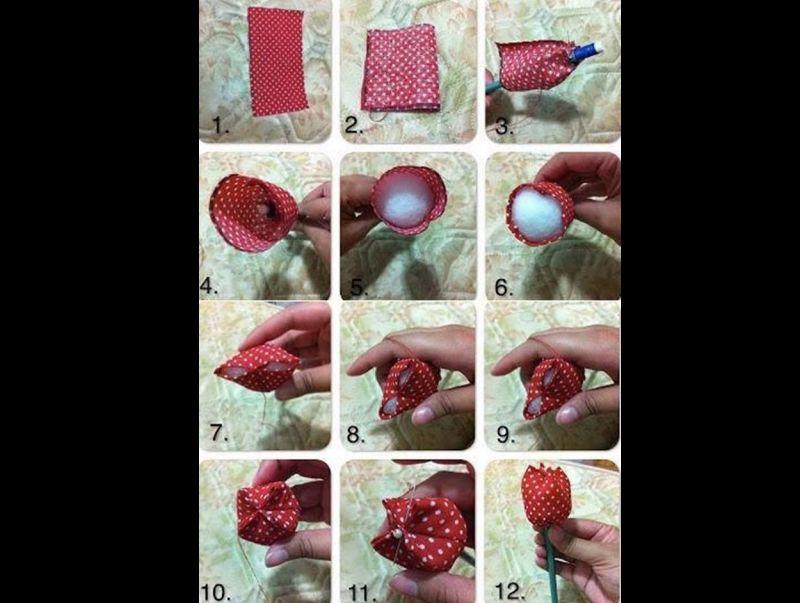 como fazer flor com tecido