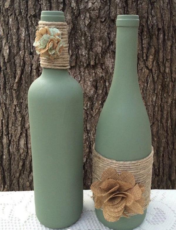 garrafas pintadas verde