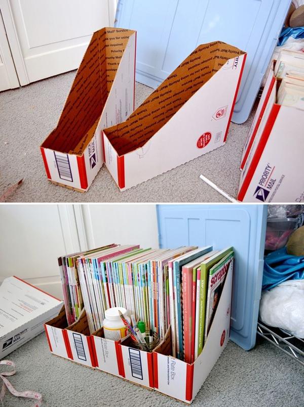 organizador de revistas de papelão
