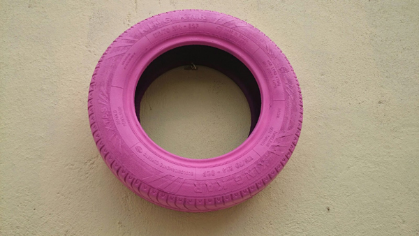 passo a passo pneus pintados para jardim