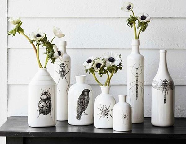 garrafas pintadas delicadas