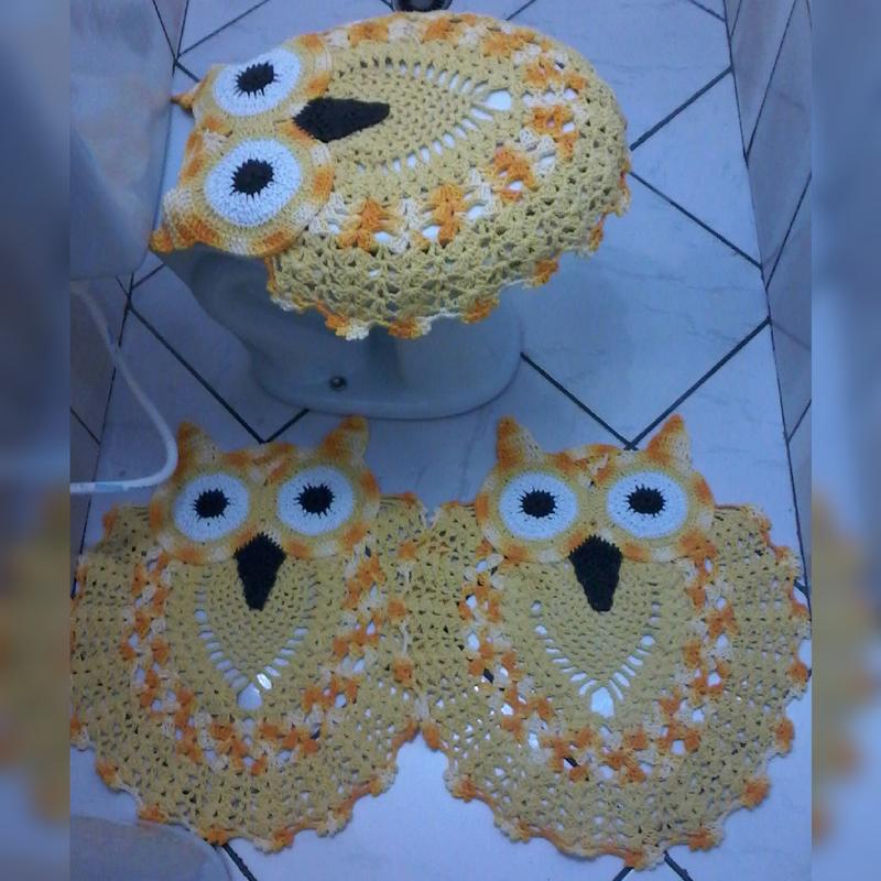 jogo de coruja de crochê amarelo