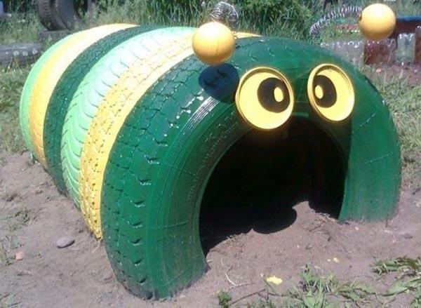 reciclagem com pneus centopeia