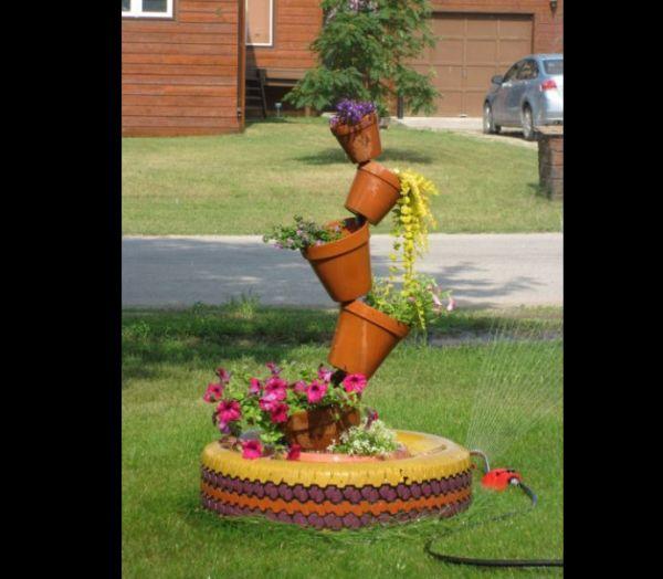 pneus pintados para jardim estampados