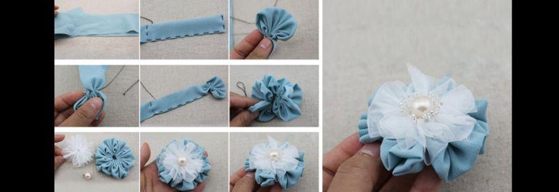 flor com tecido com perola
