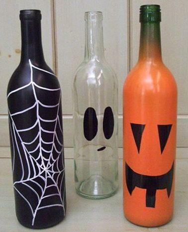 garrafas pintadas haloween